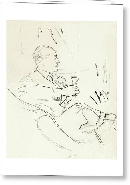 A Man With A Glass Of Wine Greeting Card