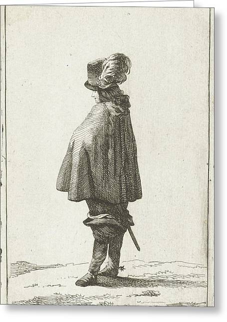 A Man With Hat Seen From The Back, Joannes Bemme Greeting Card by Joannes Bemme