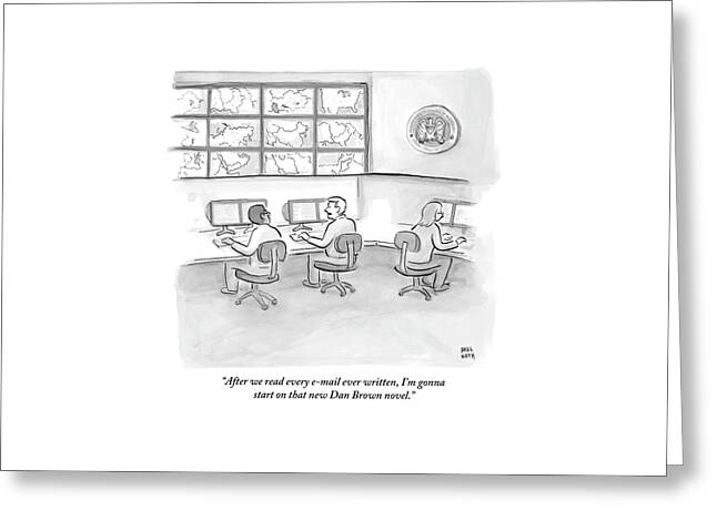 A Man Working At A Computer Station Greeting Card by Paul Noth