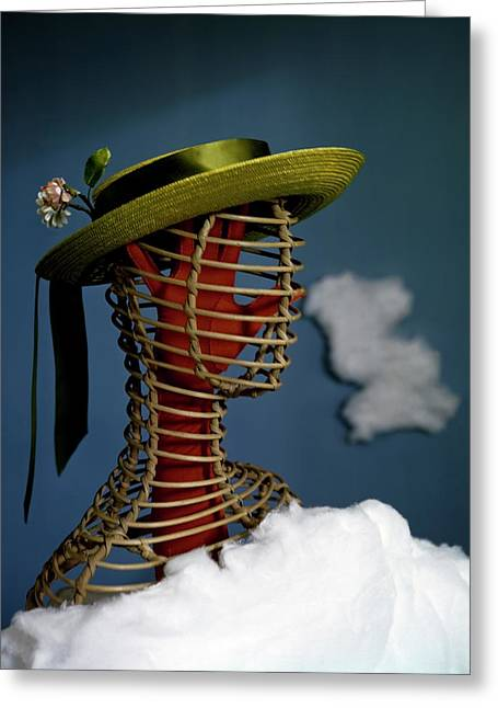 A Mannequin Wearing A Green Sailor Hat Greeting Card by Haanel Cassidy