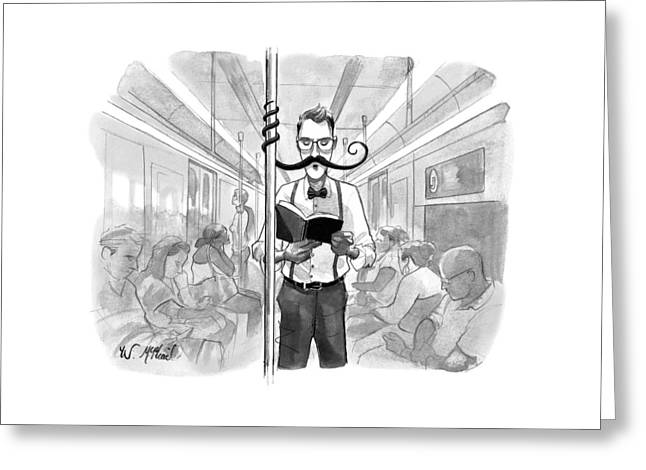 A Man's Elaborate Mustache Curls Around A Subway Greeting Card