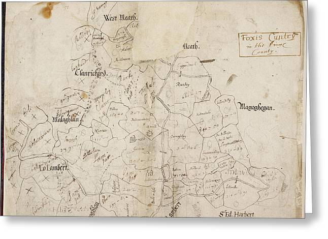 A Map Of 'foxis Cuntry' Greeting Card by British Library