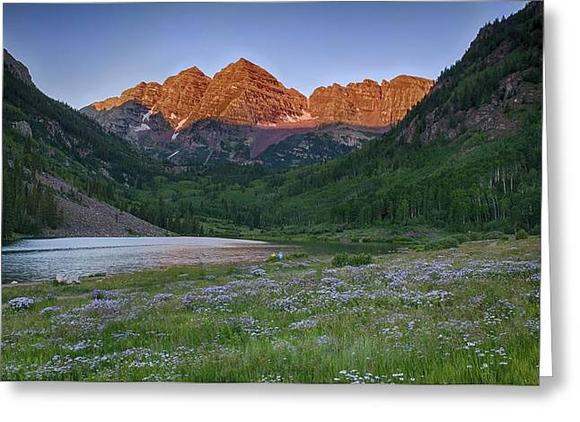 Greeting Card featuring the photograph A Maroon Morning - Maroon Bells by Photography  By Sai
