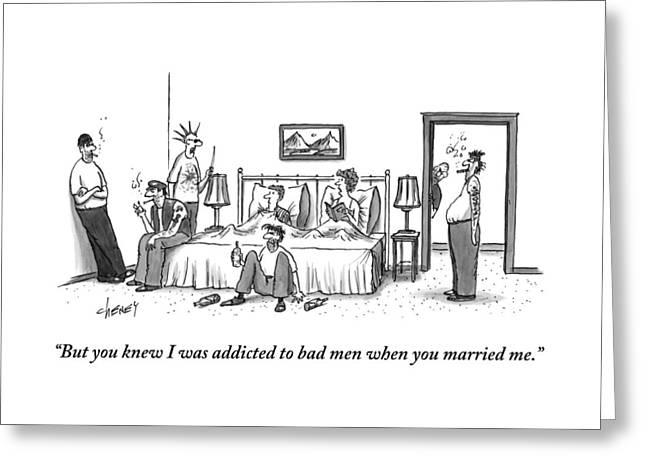 A Married Couple Sits In Bed. The Husband Greeting Card