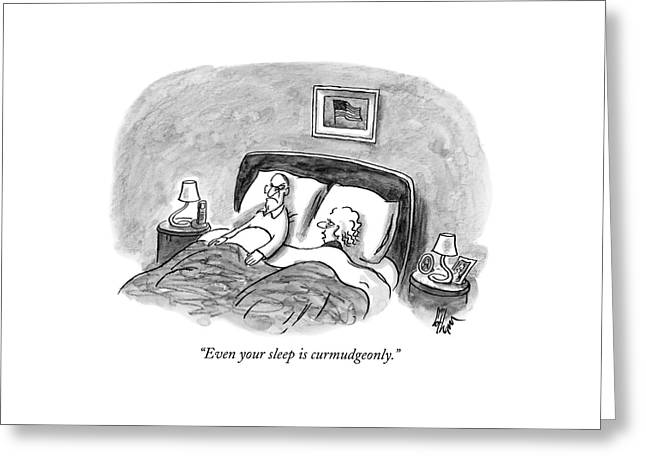 A Married Couple Talks In Bed Greeting Card by Frank Cotham