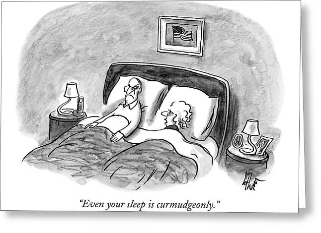 A Married Couple Talks In Bed Greeting Card