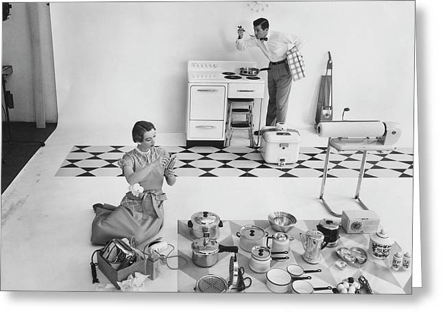 A Married Couple With Kitchen Appliances Greeting Card by Herbert Matter