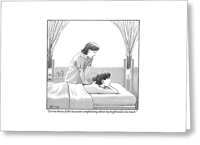 A Masseuse Talks To A Woman Getting A Massage Greeting Card by Harry Bliss