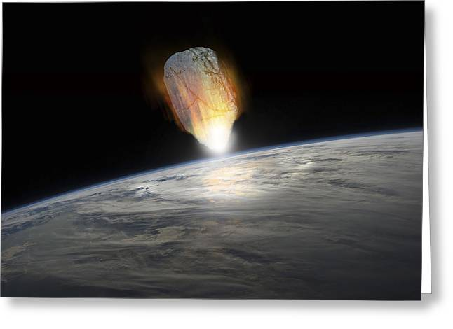 A Massive Asteroid Enters Earths Greeting Card