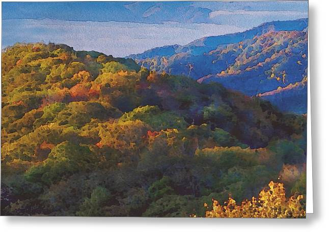 a Maxfield Parrish Autumn in the Smokies Greeting Card by Philip White