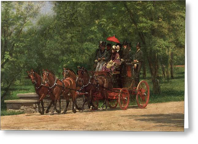 A May Morning In The Park. The Fairman Rogers Four-in-hand  Greeting Card by Thomas Eakins