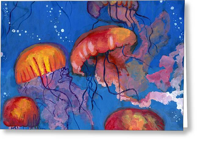 A Maze Of Jellyfish By Catherine Cui Greeting Card by California Coastal Commission