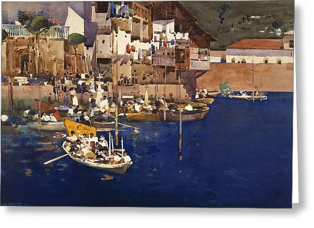 A Mediterranean Port Greeting Card by Arthur Melville