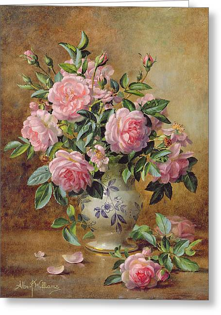 A Medley Of Pink Roses Greeting Card by Albert Williams