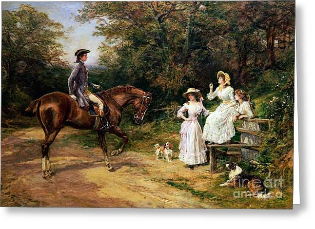 A Meeting By A Stile  Greeting Card by Heywood Hardy