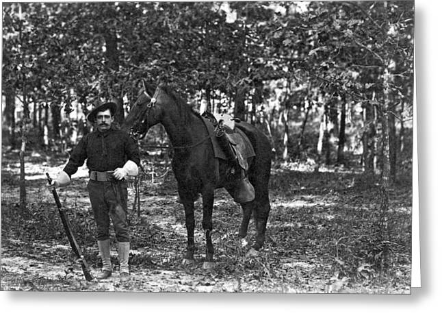 A Member Of The Cavalry Poses Standing In Front Of His Horse Greeting Card