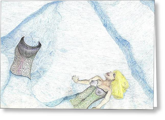 Greeting Card featuring the drawing A Mermaids Moment by Kim Pate