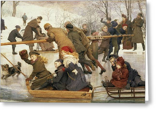 A Merry Go Round On The Ice, 1888 Greeting Card by Robert Barnes