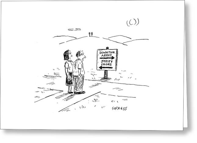 A Middle-aged Couple Stand At A Road Sign Greeting Card by David Sipress