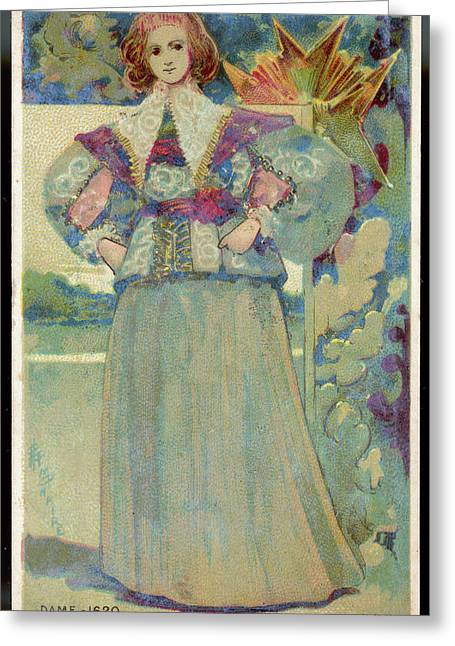 A Middle-class Lady In  Lacy Collar Greeting Card by Mary Evans Picture Library
