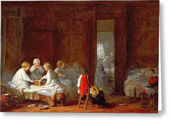 A Midnight Feast, 1866 Greeting Card