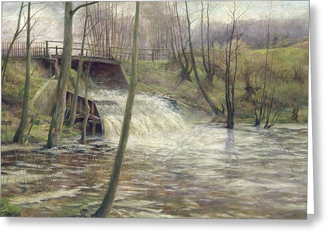 A Mill Stream Greeting Card by Karl Oderich