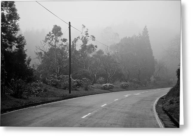 A Misty Country Road Greeting Card