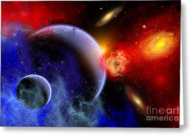 A Mixture Of Colorful Stars, Planets Greeting Card by Mark Stevenson