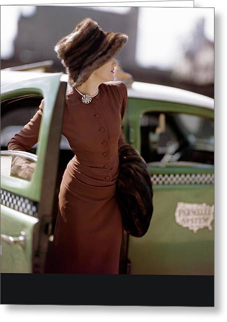 A Model Getting Out Of A Cab Greeting Card by Constantin Joffe