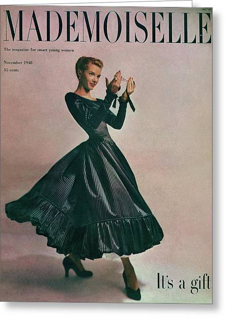 A Model In A Dress By Motley Of London Greeting Card by Gene Fenn