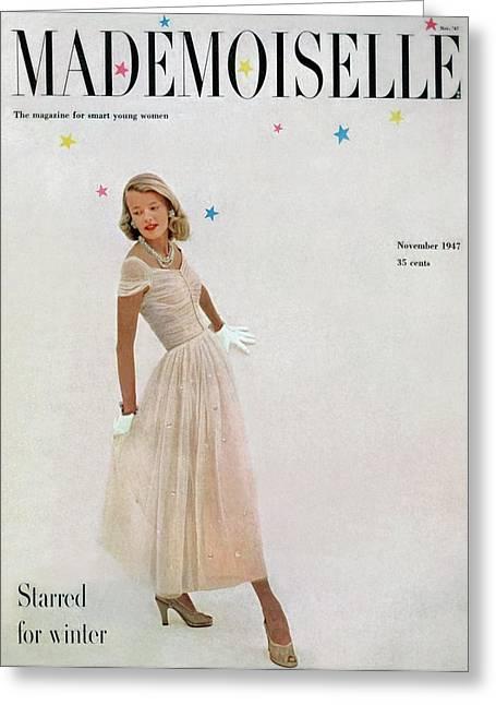 A Model In A Filcol Net Dress Greeting Card by Mark Shaw