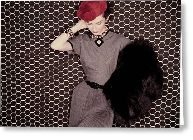 A Model In A Grey Dress And Red Hat Greeting Card by Clifford Coffin