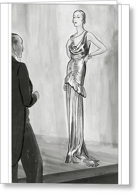 A Model In A Lanvin Gown Greeting Card by Ren? Bou?t-Willaumez
