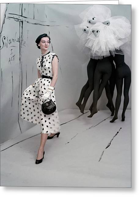 A Model In A Mollie Parnis Dress Greeting Card by Horst P. Horst