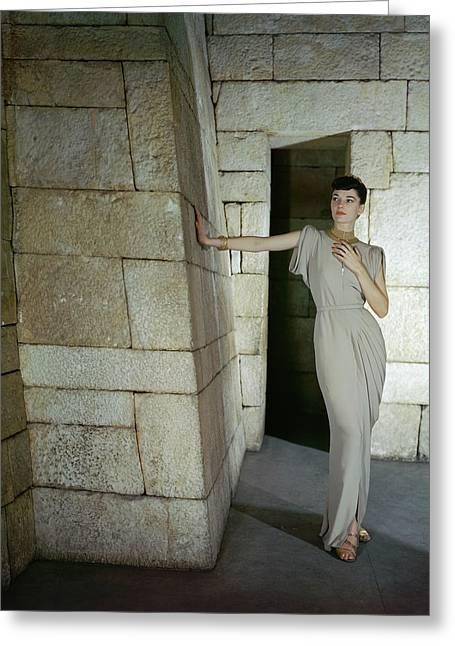 A Model In A Omar Kiam Dress Greeting Card by John Rawlings
