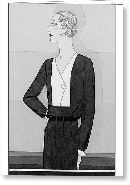 A Model In A Schiaparelli Suit Greeting Card by Douglas Pollard
