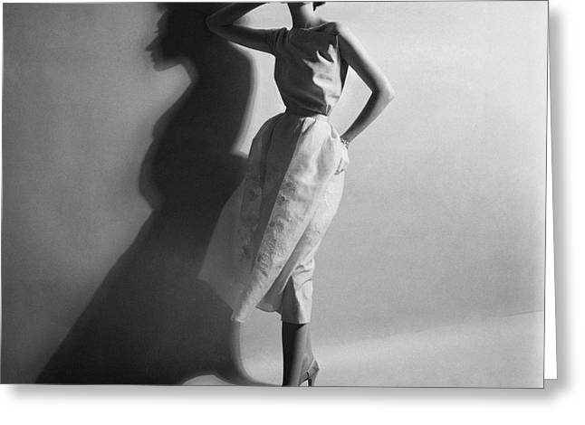 A Model In A Sheath Dress Greeting Card by Cecil Beaton