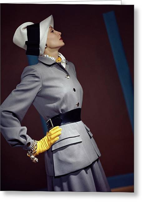 A Model In A Vogue Couturier Suit Greeting Card by Horst P. Horst