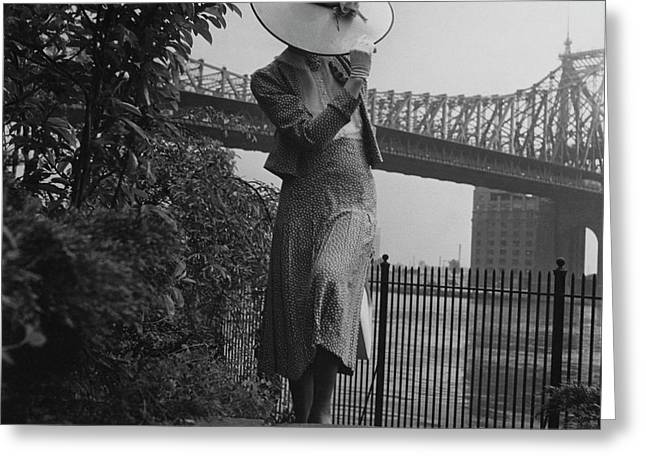A Model In Front Of The 59th Street Bridge Greeting Card by Horst P. Horst