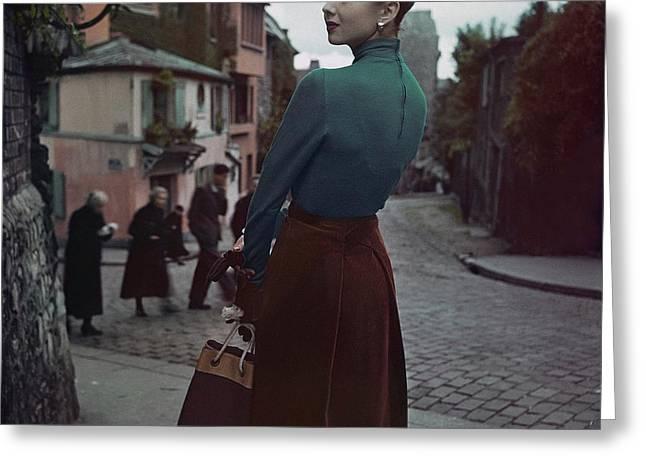 A Model In Paris Greeting Card by John Rawlings