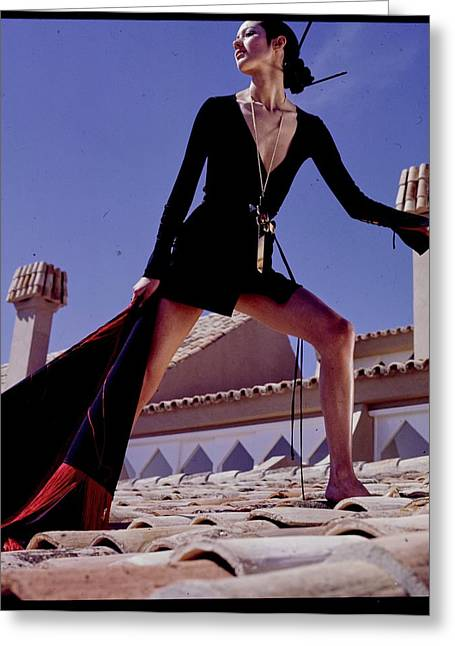 A Model On A Rooftop In A Dress By Paraphernalia Greeting Card by Henry Clarke