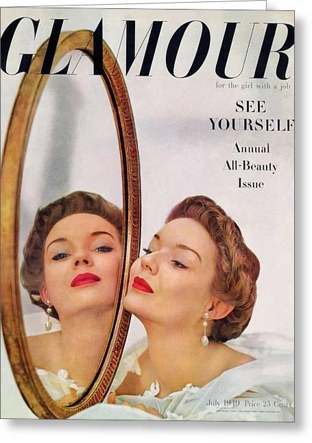 A Model Posing Against A Mirror Greeting Card by John Rawlings