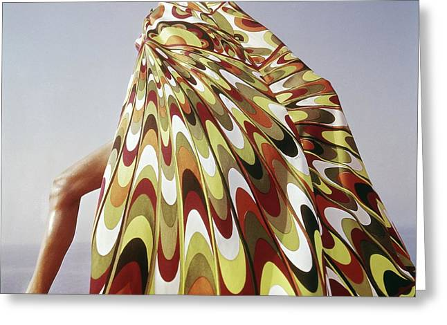 A Model Posing In A Colorful Cover-up Greeting Card by Henry Clarke