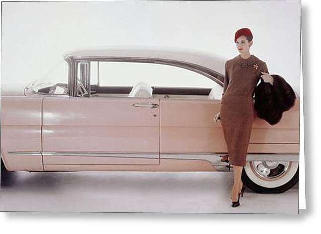A Model Posing In Front Of A Vintage Car Greeting Card by Karen Radkai