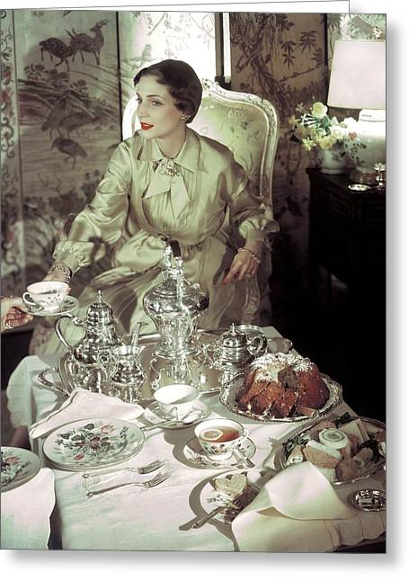 A Model Sitting In A Lavish Dining Room Greeting Card by Horst P. Horst