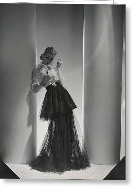 A Model Wearing A 1930s Style Evening Gown Greeting Card by Horst P. Horst