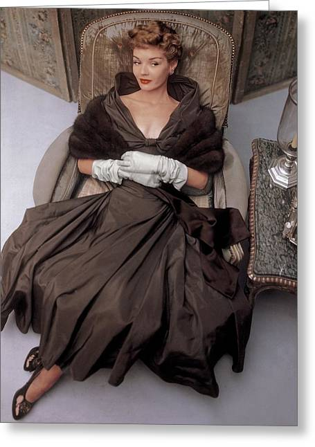 A Model Wearing A 1940s Style Evening Gown Greeting Card by John Rawlings