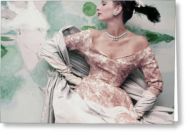 A Model Wearing A Balenciaga Dress Greeting Card by Henry Clarke