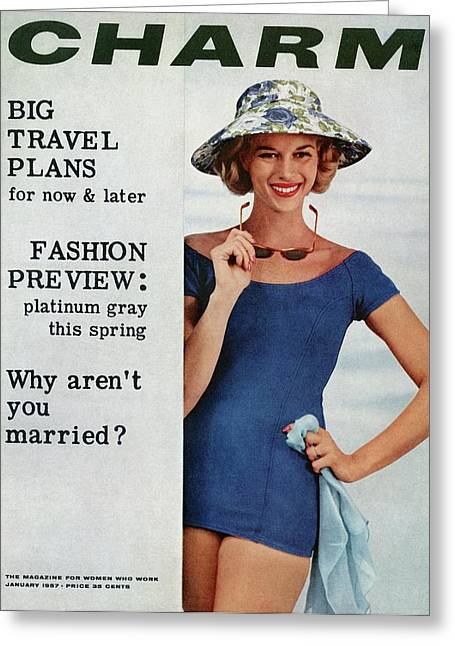 A Model Wearing A Blue Bathing Suit And A Hat Greeting Card by Artist Unknown