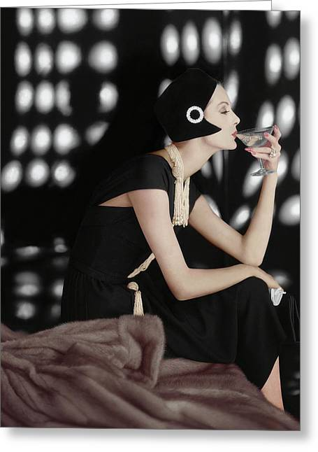 A Model Wearing A Branell Dress Greeting Card by Karen Radkai